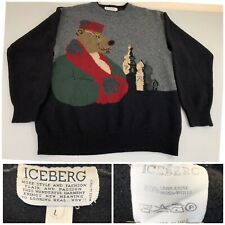 Iceberg Vintage Pullover Sweater Russian Bear Multi-Color Large -very Good Cond
