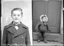 Double portraits enfants garçon  - ancien négatif photo verre an. 1940