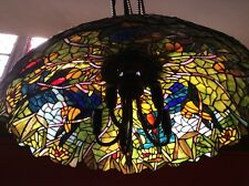 Tiffany Pendant Huge Designer Stained Glass Vintage Hand Made Multi Colour 59cm
