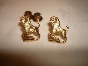 Vintage Collectible Solid 18k Yellow Gold Lions Collar Tie Pin Brooch 2Pc Set