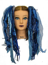 Dreadful Falls Storm Grey & Blue Ribbon Gothic Fairy Hair Falls Belly Dancing