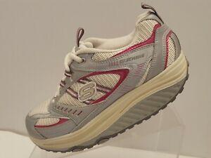 Shape Ups Sketchers Womens Sz. 7.5 Sneakers White Silver Pink  11814 Shoe