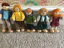 Wooden Dolls House Colourful Family Set of 5