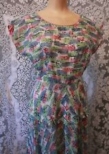 Vintage 1930s 40s Cotton Frock Dress Novelty Print