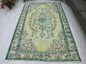Turkish Rug 5.6x8.7 Turquise Green Tribal Muted Carpet Tropical Handmade Vintage