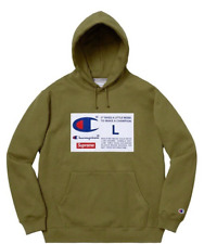 SUPREME CHAMPION Label Hooded Sweatshirt Olive Size Large With tags Rare Colour