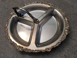 Vintage Sheridan Silverplate Divided Serving Platter With Handle
