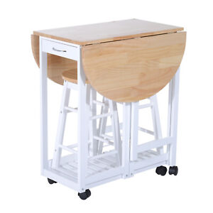 Kitchen Dining Table & Stool Chairs, Small Foldable Set, Wooden Home Furniture
