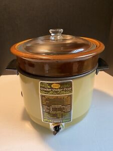 Vintage Sunbeam Crocker Slow Cooker Deep Fryer, Harvest Gold, Complete