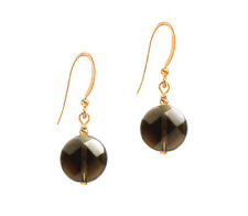 *CKstella*  Smoky Quartz Smokey Coin Dangle 14K Gold gf Hook Earrings