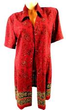 Studio i red beige floral folded collar open women's plus size dressy top 14
