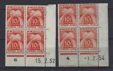 FRANCE Taxe n° 86 neuf sans charnière - 2 blocs de 4 coin daté