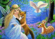 Fairy Angel fox fawn owl moon fantasy forest wildlife OE aceo print art