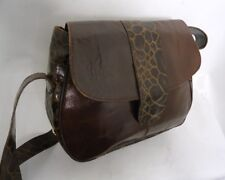VINTAGE BROWN CROC PRINT LEATHER SATCHEL SADDLE BAG LARGE