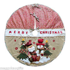 "Large Rustic Christmas Tree Skirt Mat Apron Decoration Santa Snowman 42"" 105 cm"