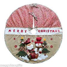 "Luxury Country Christmas Tree Skirt - Decoration - 3D Santa & Snowman - 42"""