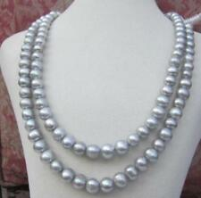 +2 ROW AAA8-9MM tahitian silver gray pearl necklace 18-20inch 14K gold clasp