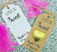 Chocolate Favour, Love Is Sweet Gift Tags, Personalised Wedding Gift, Heart