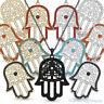 Hamsa Hand of Fatima Evil Eye Charm CZ Pendant Jewish Judaica Kabbalah Necklace
