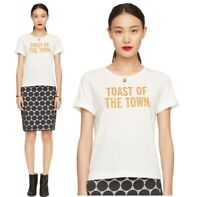 NWT Sz M Kate Spade TOAST OF THE TOWN Steal the Spotlight White Tee T Shirt RARE