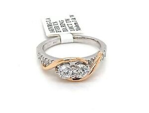 14K Two Tone Gold 1.00 CT Diamond Ever Us Style Ring, 4.9gm, Size 7.5, S103051