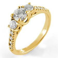 0.94Ct Round Three Stone Anniversary Engagement Diamond Ring 14k Gold Yellow VS1