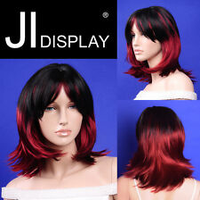 JI DISPLAY Perücke Wig H02K schwarz / rot Perücken Wigs Haare Schaufensterpuppen