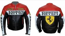 RED FERRARI MOTORBIKE LEATHER JACKET CE APPROVED