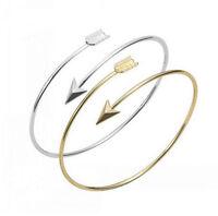 Fashion Women's Gold Silver Arrow Bangle Punk Cuff Bracelet Wristband Jewelry
