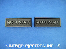 (1) NOS PAIR of ACOUSTAT Die-Cast Metal Speaker Logos/Badges ($19.95/pr)