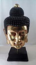 "HUGE 23"" Gilt Gold Serene Meditating Buddha Bust Sculpture Statue on Black Base"