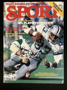 Tony Dorsett Signed Sport Jan 82 No Label Cowboys Football Auto Heisman HOF JSA