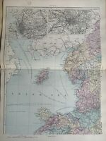 1891 Northwest England & Wales Hand Coloured Original Antique Map by G.W. Bacon