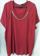 Ellos Burgandy Top/Blouse with Rhinestone Accents Size 2X (26-28)