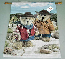 Boyds Bears Western Cowboy & Cowgirl On The Range Tapestry Wall Hanging w/o Rod