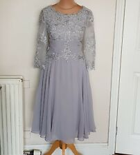 A6 Ladies Grey Lace Embellished Evening Special Occasion Bridesmaid Dress Size 8