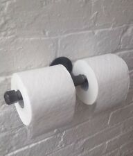 URBAN Double Toilet Roll Holder STEEL Gas Pipe IRON Industrial Fittings HANDMADE
