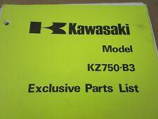 1978 Kawasaki KZ750 Exclusive Parts List Fiche Manual Book B3 KZ750