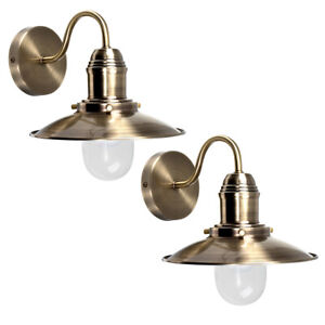 Pair of Antique Brass Metal Fishermans Pendant Wall Light Fittings Lights Lamps