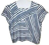 Alfred Dunner Top Plus 2X Women Blue Stretch White Diagonal Stripes Embellish