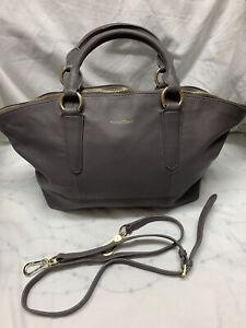 Paul Costelloe Grey Real Leather Large Tote  Bag Handbag VGC