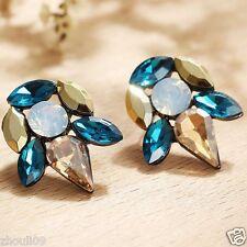 Long Ear Stud Hoop earrings 098 Wholesale 1pair Woman's Green Crystal Rhinestone