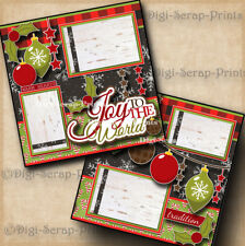 JOY TO THE WORLD CHRISTMAS ~ 2 premade scrapbook pages layout printed DIGISCRAP