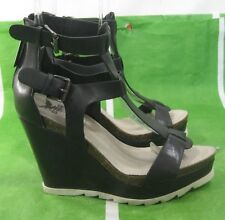 "NEW LADIES Black 4""Wedge High Heel 1.5""Platform Sexy Ankle Strap Shoes Size 7"