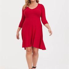 Torrid 4X Dress Red Hacci Knit Skater Hi Lo V-Neck Plus Size Holiday 3/4 Sleeves