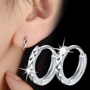 Pretty 925 Silver Hoop Earrings for Women Wedding Jewelry Gift A Pair/set
