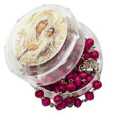 "Sandalwood Rosary w/ Crucifix Virgin Mary & Rose Aroma Israel 18.5""/47cm"
