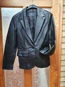 Vintage Ladies Black Leather Jacket Tailored Style Size 10