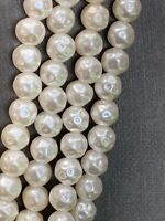 Vintage Irregular Beaded White Imitation Pearl Necklace Amazing Extra Long 50""