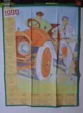 ANCIEN TORCHON CALENDRIER ANNÉE 1990 AUTO VOITURE PTT LA POSTE TAPISSERI